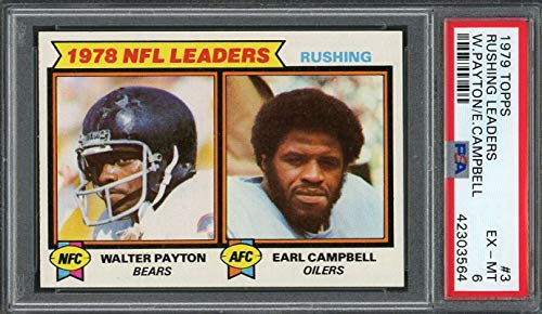 1979 topps #3 EARL CAMPBELL rookie card/WALTER PAYTON rushing leaders PSA 6 Graded - Card Campbell Rookie