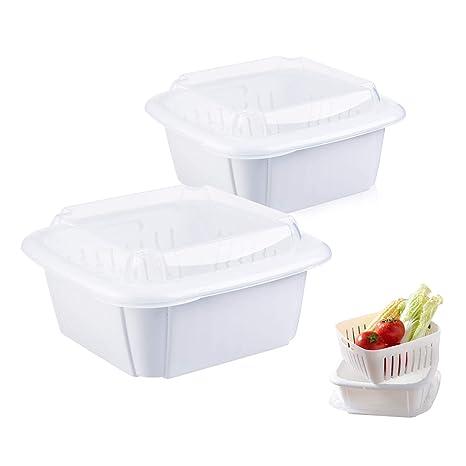 Baffect Pack de 2 organizador cocina de plástico para frigorífico ...