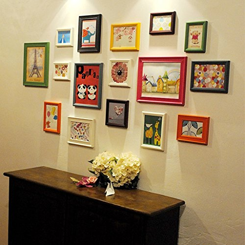 Photo frame wall 16 boxes of color solid wood combination of children's room photo wall / photo wall / creative portfolio photo frame Photo Wall by Photo Frame Set