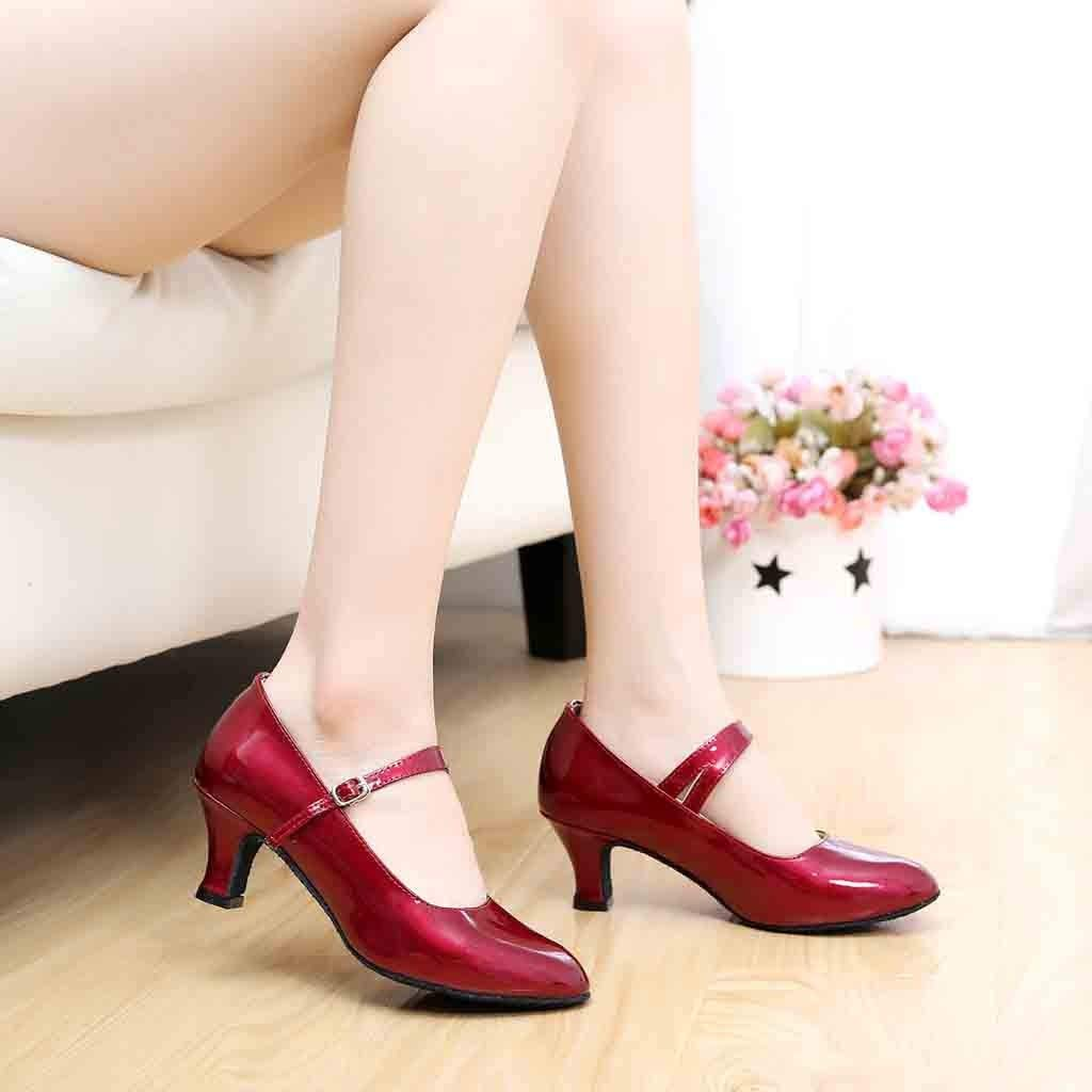 Dancing Shoes Women Ladies Ballroom Tango Latin Salsa Dancing Shoes Buckle Strap Heels Shoes Character Stage Showtime Shoes Court Shoes HOTSELL〔☀ㄥ☀〕Women Glossy Social Dance Single Shoes