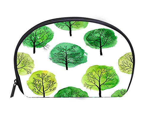 Custom design Portable Toiletry Cosmetic Bag vector seamless pattern with deciduous trees Travel Cosmetic Case Luxury Makeup Artist Bag -
