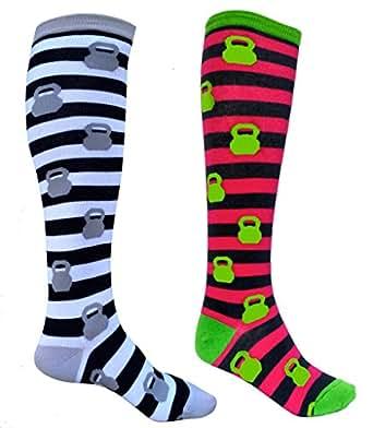 SoRock Women's Set Of Kettlebell Stripped Knee Socks