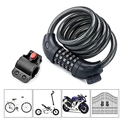 AKM Bike Lock, 4-Feet Bike Cable Lock Resettable 5-Digit Combination with Complimentary Mounting Bracket