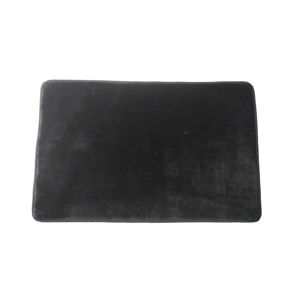 JINGXIN Flannel Bath Mat Non Slip Absorbent Velvet Bathroom Rug Indoor Entry Mat,19.69 x 31.50 Inch,Dark Grey