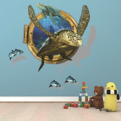 Amaonm Removable home Art Decor 3D Turtle Swimming Under Ocean Sea Fake Window Wall Sticker Mural Waterproof Decals for Kids Girls Bedroom Living Room Nursery Rooms Classroom Background