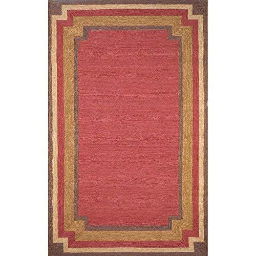 Liora Manne Ravella Border Rug, Indoor/Outdoor, 5-Feet by 7-Feet 6-Inch, Red