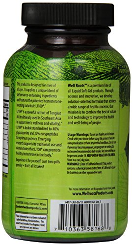 Well Roots Testosterone Formula Supplement for Men 30 Fast Acting Liquid Softgels