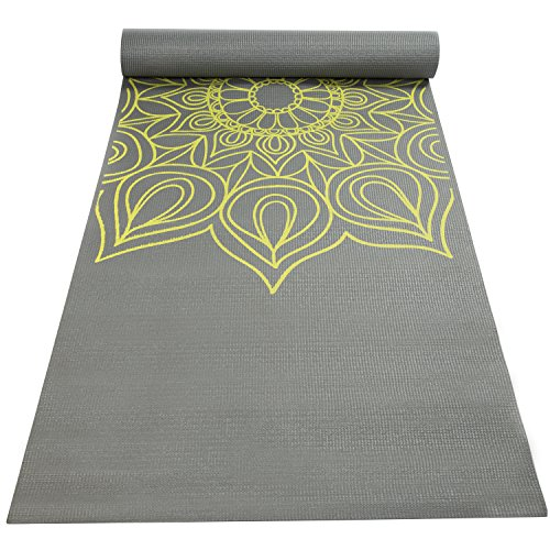 Fit Spirit Printed Yoga Mat, 6mm Gray Henna