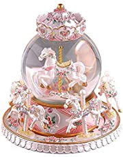 Autker Music Box Unicorn Snow Globe Clockwork Carousel Music Box with 7 Colorful LED Lights Birthday/Christmas/Valentine's Day Gift for Kids, Girls, Women Melody Castle in The Sky