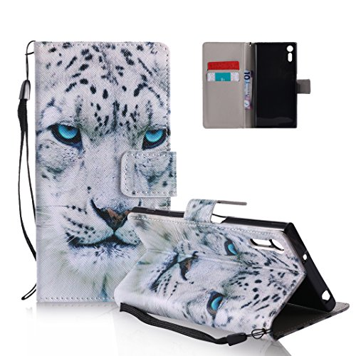 Funda Sony Xperia XZ OuDu Carcasa de Billetera Funda PU Cuero Carcasa Suave Protectora con Correas de Teléfono Funda Arbol Flip Wallet Case Cover Bumper Carcasa Flexible Ligero Ultra Delgado Caja Anti Leopardo Blanco