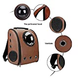 MESASA Pet Carrier Backpack Space Capsule PU Leather Dog Cat Small Animals Travel BagCoffee