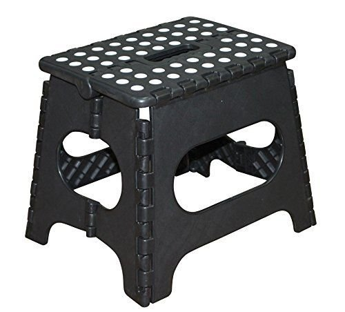 Jeronic 11 Inches Super Strong Folding Step Stool for Adults and Kids, Black up