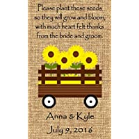 Personalized Wedding Favor Wildflower Seed Packets Burlap Sunflower Wagon Design Set of 50 - 6 verses to choose from