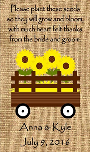 Personalized Wedding Favor Wildflower Seed Packets Burlap Sunflower Wagon Design Set of 50 - 6 verses to choose ()