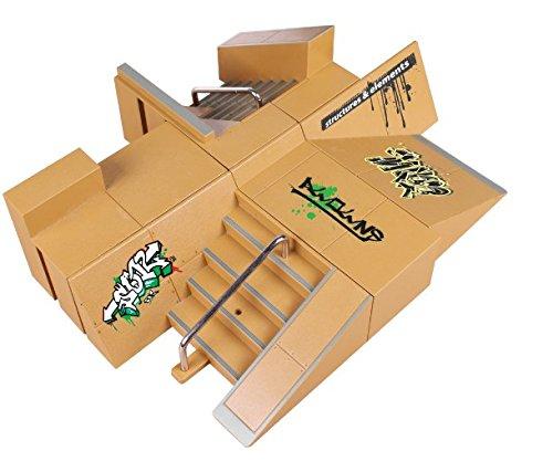 NNDA CO Skate Park Kit,8pcs Skate Park Kit Ramp Parts for Tech Deck Fingerboard Mini Finger Skateboard (B) by NNDA CO