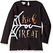 Mud Pie Baby Toddler Girls' Halloween Long Sleeve Tunic, Black Spider, SM/12-24 Mos