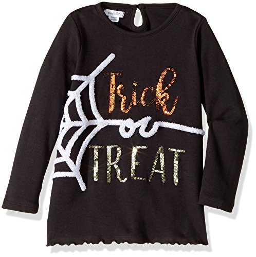 Mud Pie Baby Girls' Toddler Halloween Long Sleeve Tunic, Black Spider, SM/ 12-24 -