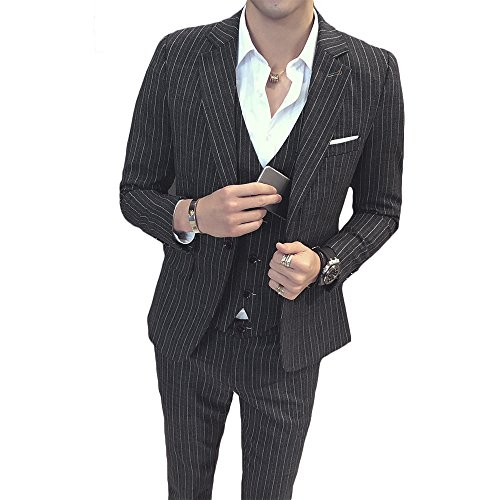 MAGE MALE Men's 3 Pieces Suit Pinstripe One-Button Slim Fit Stripe Single Breasted Notched Lapel Blazer Vest Pants Sets (3 Button Black Pinstripe Suit)