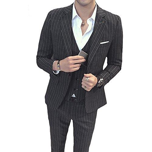 MAGE MALE Men's 3 Pieces Suit Pinstripe One-Button Slim Fit Stripe Single Breasted Notched Lapel Blazer Vest Pants (Black Pinstripe Pants)