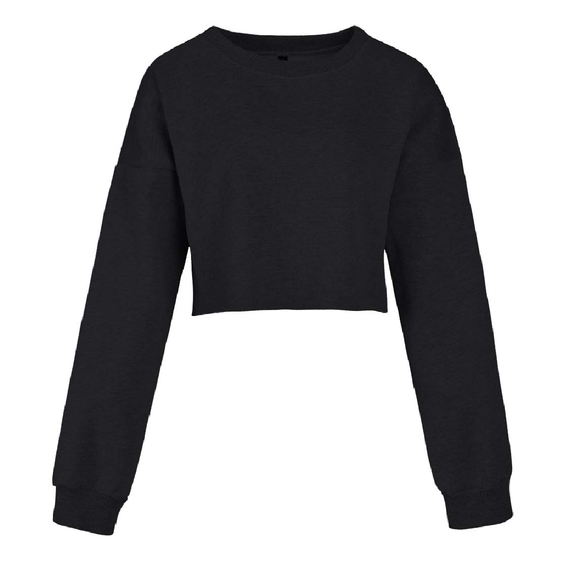 YUNY Women Crop Short Long Sleeve Round Neck Solid Loose Skinny Sweatshirts Black XS
