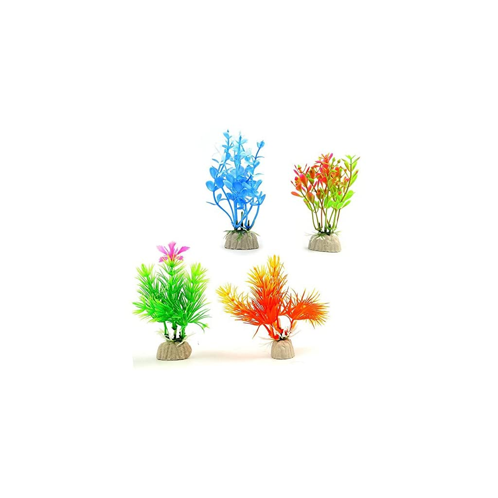 COMSUN-10-Pack-Artificial-Aquarium-Plants-Small-Size-4-to-45-inch-Approximate-Height-Fish-Tank-Decorations-Home-Dcor-Plastic-Assorted-Color