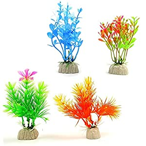 COMSUN 10 Pack Artificial Aquarium Plants, Small Size 4 to 4.5 inch Approximate Height Fish Tank Decorations Home Décor Plastic Assorted Color 8