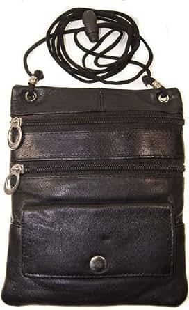Improving Lifestyles Leather Crossbody Travel Bag Small Black FREE Organza Gift Bag SUN015BK