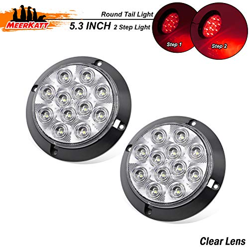 """(Meerkatt (Pack of 2) 4"""" Clear Lens Red LED Exterior Lamp Round Brake Rear Tail Utility Lights Sealed Surface Mount Waterproof for Trailer Bus Truck Lorry Jeep Camper 12V DC with Two Step Bright GK12)"""