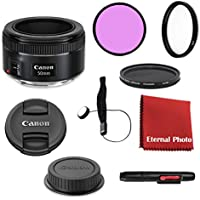Canon EF 50mm f/1.8 STM DSLR Lens Bundle With Filters, Lens Cap Keeper and More