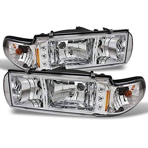 For 91-96 Chevy Impala Caprice Replacement Clear 1 Piece LED Headlights/Corner Signal Lamps Left + Right