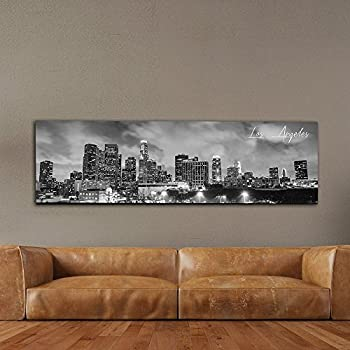 WallsThatSpeak Panoramic Los Angeles Cityscape Picture, Black and White Stretched Canvas Art Prints, Wall Decoration for Bedroom or Office, Framed and Ready to Hang, 14