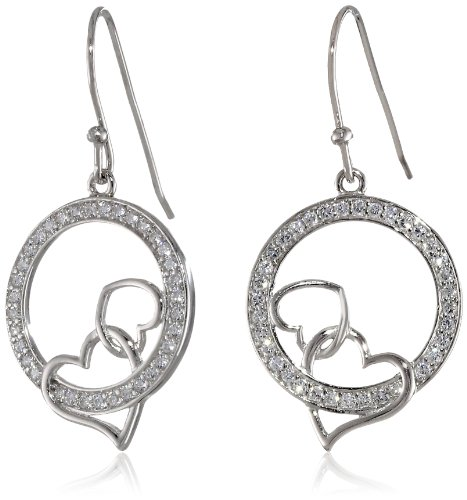 Sterling Silver Cubic Zirconia Double Open Heart with Circle Dangle Earrings Double Open Circle Dangles