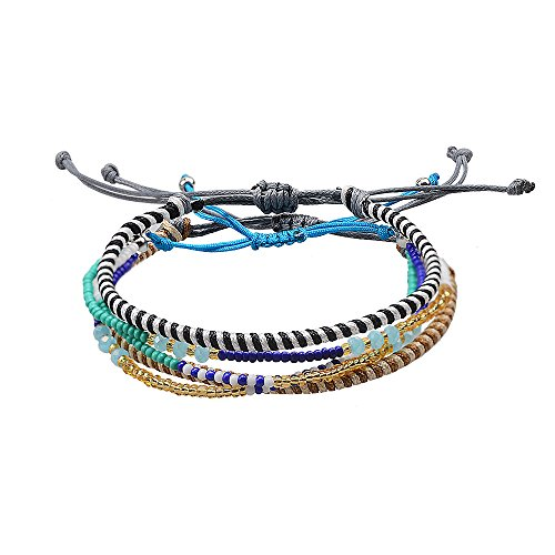 Jeka Handmade Wrap Friendship Braided Bracelet-3Pcs for Women Girl Colorful Wrist Cord Adjustable Graduation Gifts Wrap Bracelet Anklet