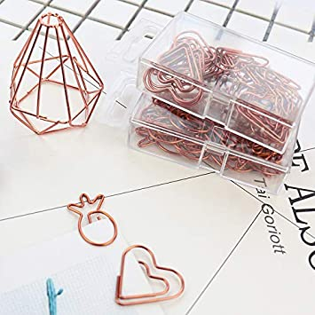 Amazon.com : Susins Rose Gold Color Plastic Coated Electroplating Pineapple Goblet Heart Shape Paper Clips Funny Bookmark Marking Clips H0029 - (Color: ...