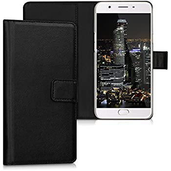 kwmobile Elegant synthetic leather case for the Oppo F1s with magnetic fastener and stand function in black