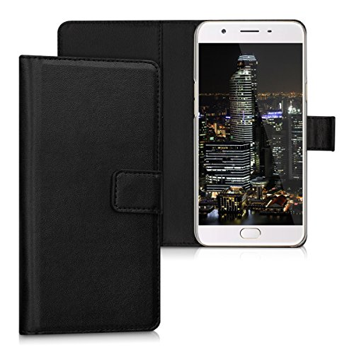 51uWt0fTIML - kwmobile Elegant synthetic leather case for the Oppo F1s with magnetic fastener and stand function in black.