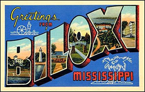 American Vinyl Vintage Greetings from Biloxi Sticker (Old Postcard Art Logo Mississippi mi) (Postcard Mississippi)