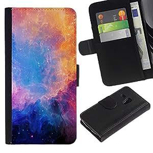 "Samsung Galaxy S3 MINI / i8190 (Not For Galaxy S3) , la tarjeta de Crédito Slots PU Funda de cuero Monedero caso cubierta de piel ("" Universe Blue Stars Nebulae Purple"")"