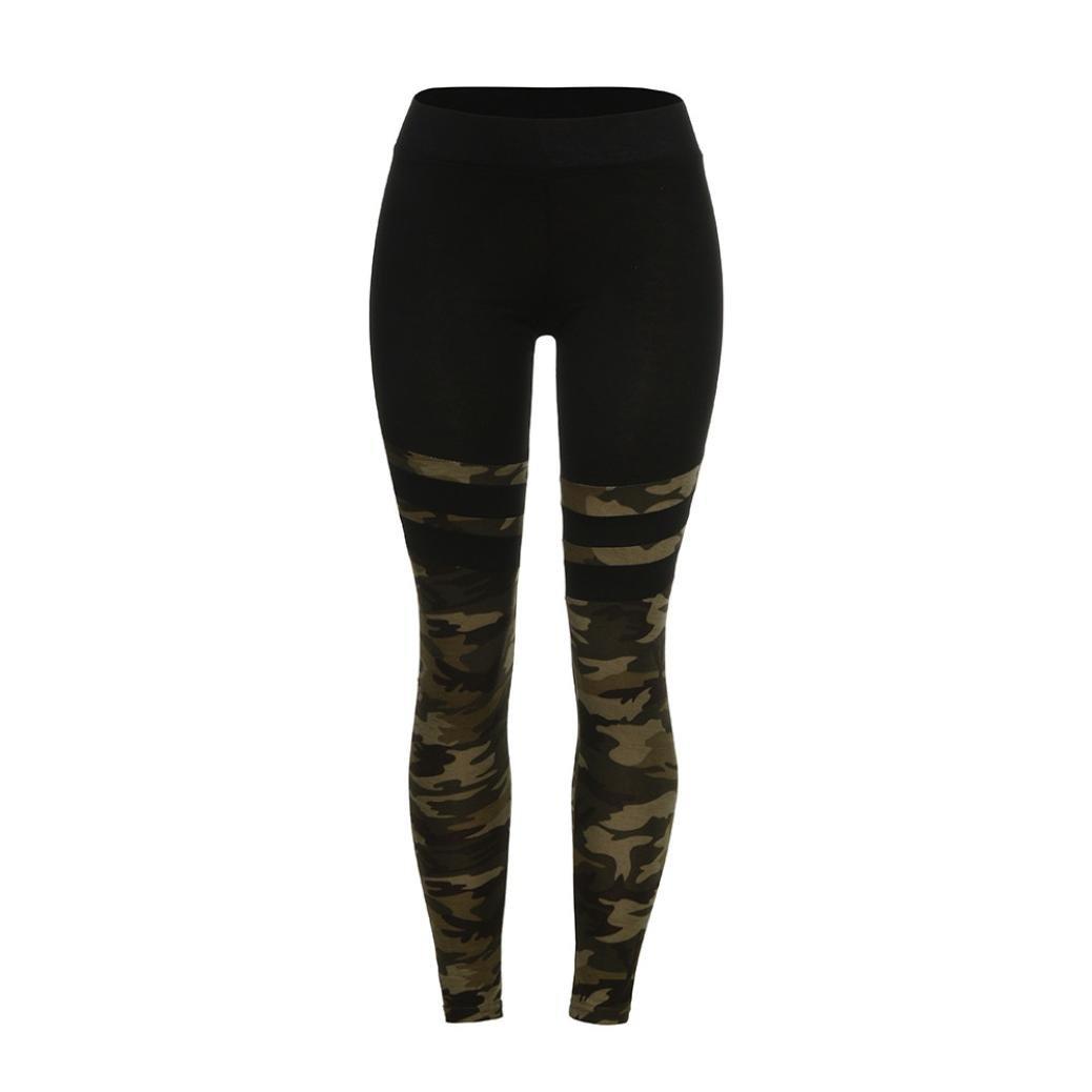 Dainzuy Women's Camo Pants,Fashion High Stitching Yoga Pants Leggings Running Stretch Trousers (S, Black)