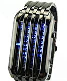Fanmis 72 Blue LED Binary Digital Watches Men's Black Stainless Steel Wrist Watch