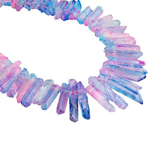 rockcloud Natural Pink&Blue Rock Quartz Crystal Points Drilled Sticks Bars 15 inch Strand
