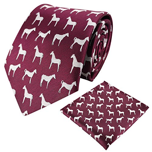 KOOELLE Mens Fashion Ties Horses Jacquard Woven Pocket Square & Necktie Set for Formal