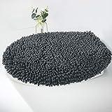 cushion toilet seat MAYSHINE Seat Cloud Bath Washable Shaggy Microfiber Standard Toilet Lid Covers for Bathroom-Dark Gray