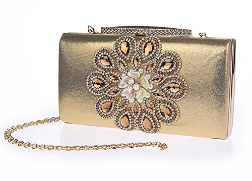 Pearl Women's Handbag Strap Chain Clutch HeySun Party Crossbody Beaded Flower with Gold Evening dxHqxTPwI8