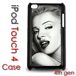 IPod Touch 4 4th gen Touch Plastic Case - Marilyn Monroe Black and White Airbrushed painting