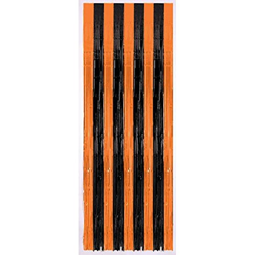 Amscan New Age Scare Halloween Party Orange and Black Door Curtain Decoration