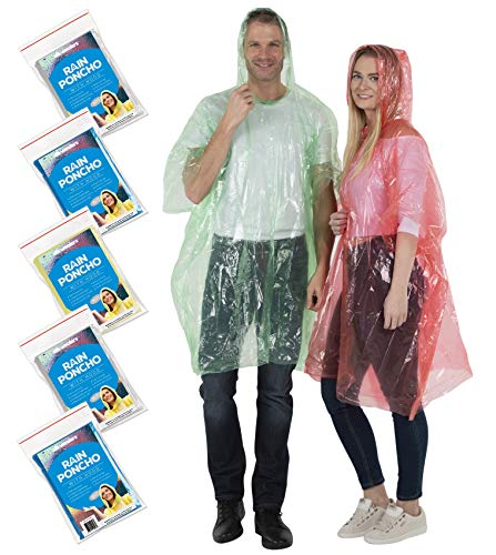Wealers Rain Poncho for Adults – Thick Disposable Rain Ponchos Raincoat for Women & Men, One Size Fits All – Emergency Poncho for Theme Parks, Camping, Outdoors & More – Multi Colors
