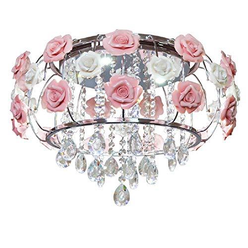 19 inch Modern Chandelier Crystal Pendant Light LED Living Room Lighting Pink Flowers Hanging Ceiling Light Fixture Lamp