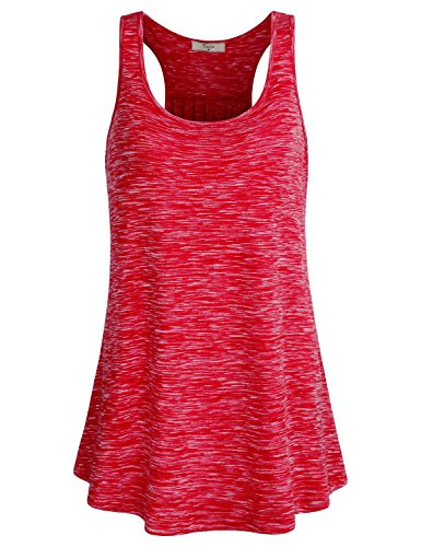 Cestyle Tunic Tank Tops For Women, Girls Gym Clothes Casual Flare Ribbed Racerback Sleeveless Running Shirt For Execrise Red Marble (Racerback Tunic Top)