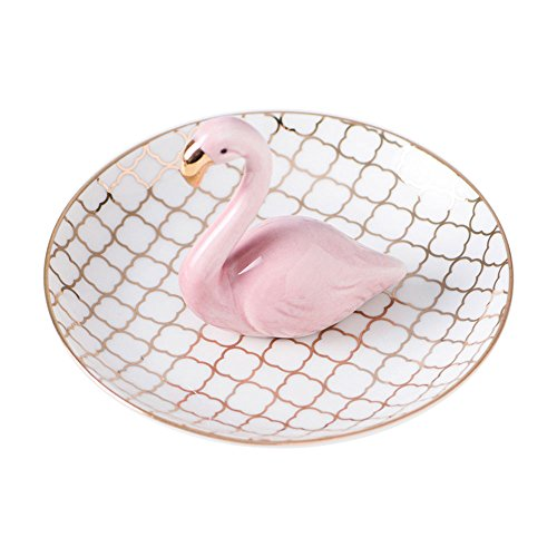 Lovely Cute Ceramic Pink Golden Line Flamingo Design Jewelry Necklace Crafts Trinket Tray Organizer Ornament Ring Desk Dish Holder Gift for Daughter Girlfriend Wedding Birthday Office Home Decoration by ORGEN LIFE